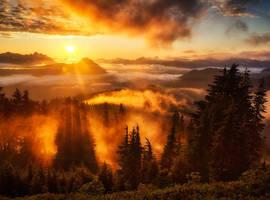 Закат с г. Большой Тхач